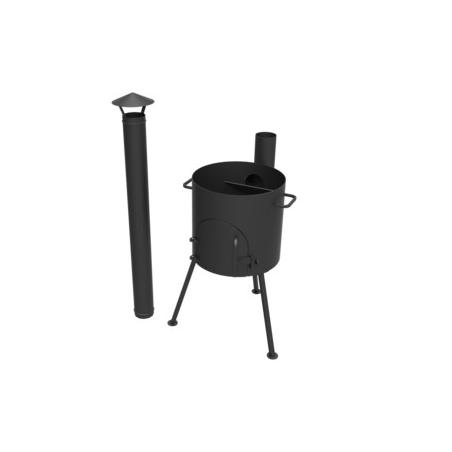 Печка под казан D400мм с дверкой и трубой